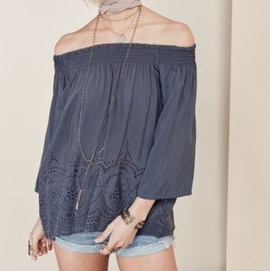 Lovestitch | Eyelet Off Shoulder Rayon Blouse Top